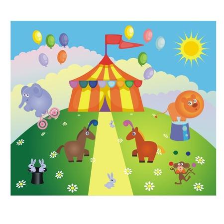 circus bike: Carpa de circo y los animales en una colina Vectores