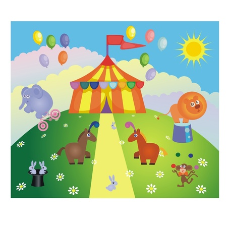 Circus tent and animals on a hill Illustration