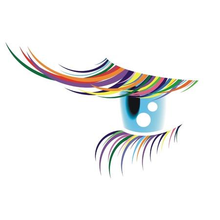 ojos: Un ojo con las pesta�as de colores Vectores