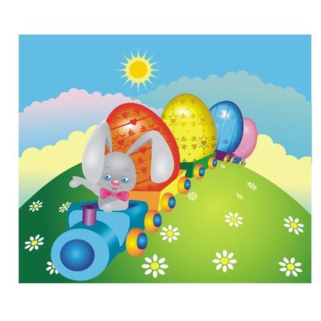 pasqua cristiana: Happy Rabbit su un treno con le uova di Pasqua