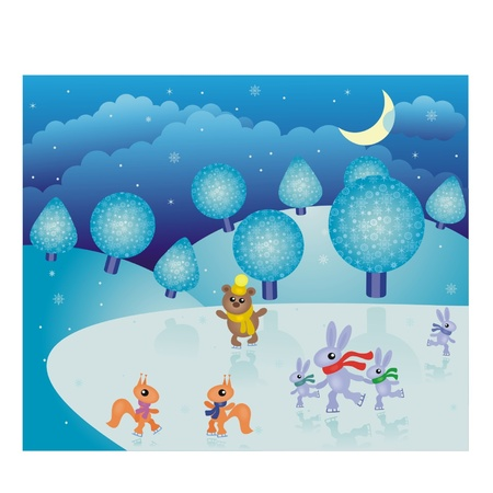 Wonderful fairy-tale winter landscape with animals Vector