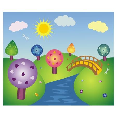 fairy tree: Wonderful fairy-tale summer landscape