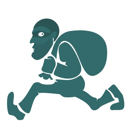 burglar: Un ladro con una bag.Illustration