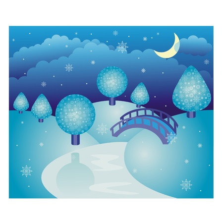 Wonderful fairy-tale winter landscape Vector