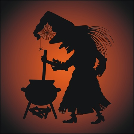 Silhouette of witch with a caldron Illustration
