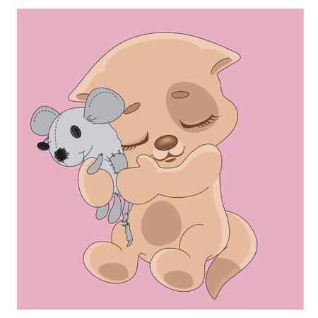 plushy: A kitten hugs an old toy Illustration