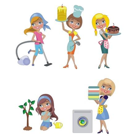 cocina limpieza: Cinco amas de casa aislada en un fondo blanco