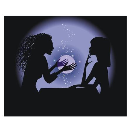 adivino: Silueta adivina y una niña con una bola mágica