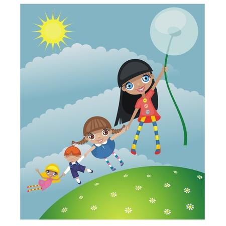 Summer walk of children