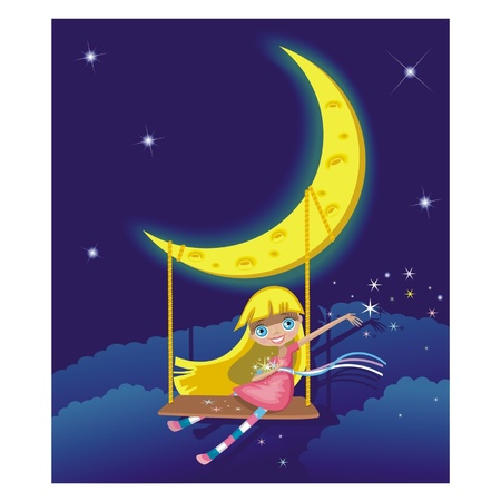 Little fairy on swings Illustration Vector