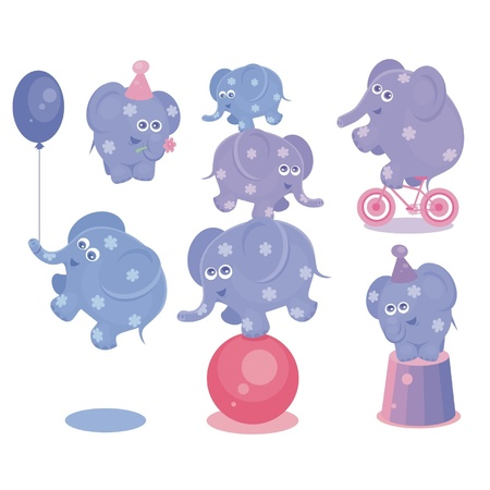 Set from circus elephants  Illustration Vector