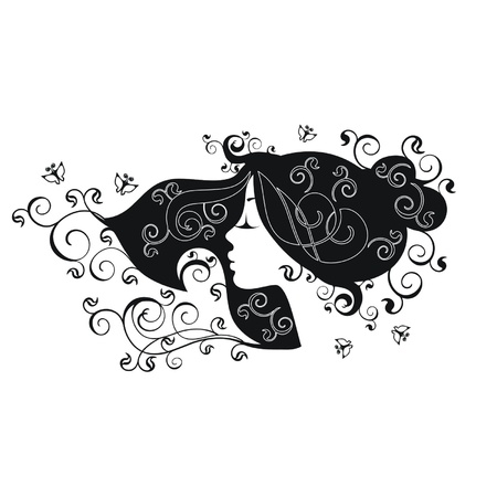 Floral hairstyle silhouette on a white background Illustration