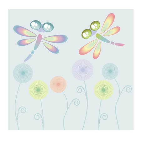 fly cartoon: Coloured dragon-fly and flowers