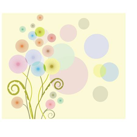 dandelion abstract: Floral pattern with the coloured dandelions