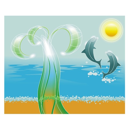 lagoon: Palm tree on beach and two dolphins