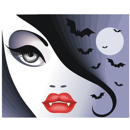 Vampire girl on the background of the moon.Illustration