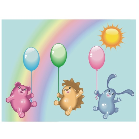 Glossy animals on a background a rainbow Illustration