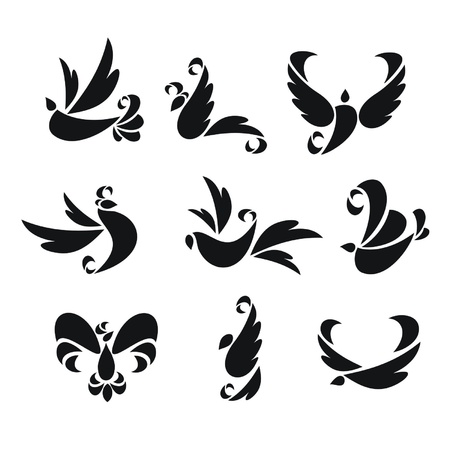 Set from nine silhouettes of birds Illustration