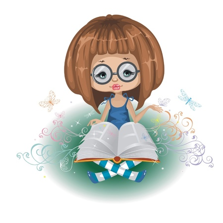 A girl with a book is isolated on a white background 向量圖像