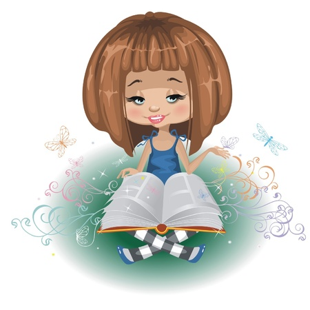 A girl with a book is isolated on a white background Иллюстрация
