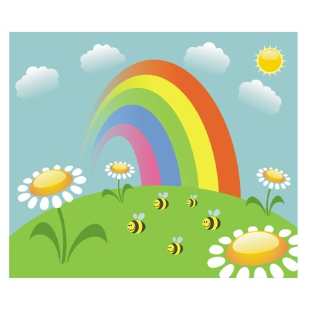 Summer meadow with rainbow  and bees Vector
