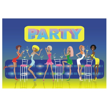 Beautiful girls drinking cocktails at a party Stock Vector - 14347399