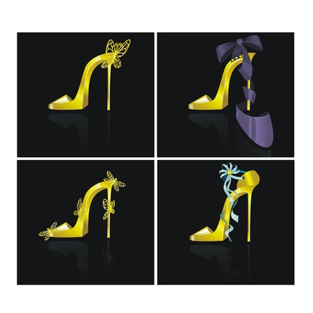 frizz: Set from gold shoes Illustration