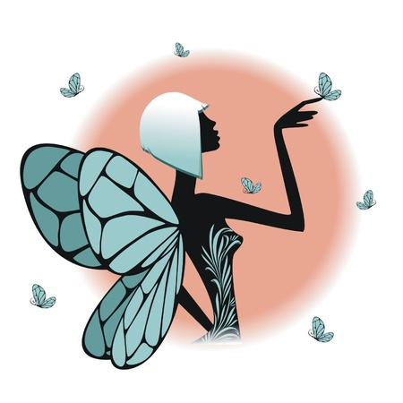 A  fairy silhouette  with butterflies Vector