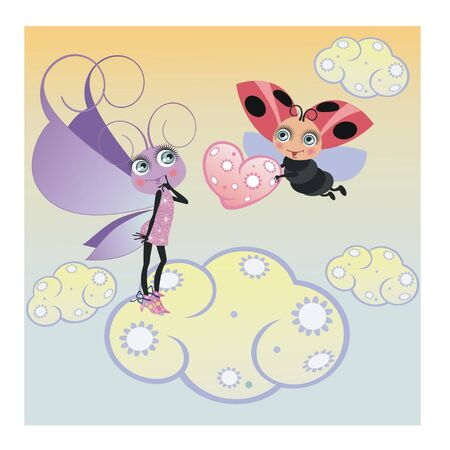 Butterfly and ladybug with a heart Vector