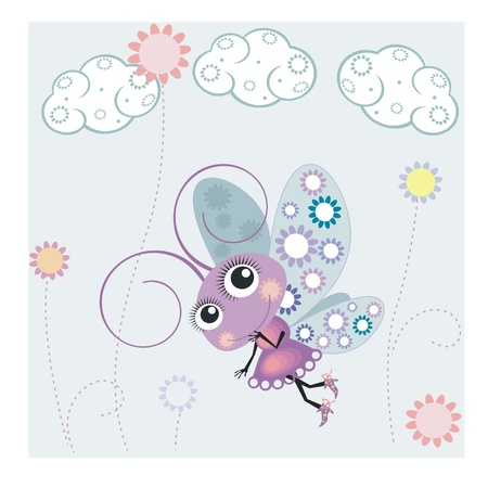 A little butterfly and clouds Illustration