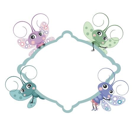 A little butterflies  with frame Stock Vector - 14953991