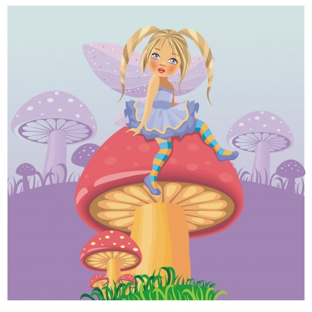 A little fairy on mushroom Vector