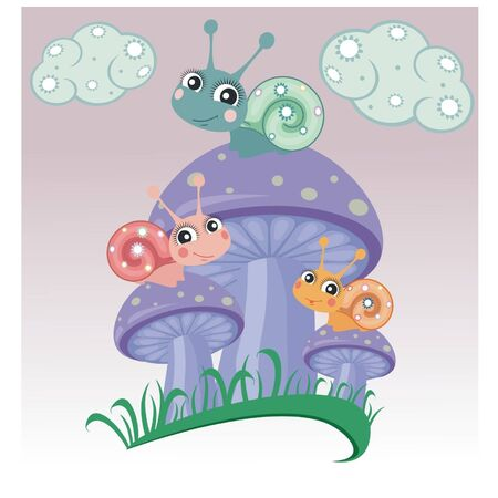 A little snails on mushrooms Vector