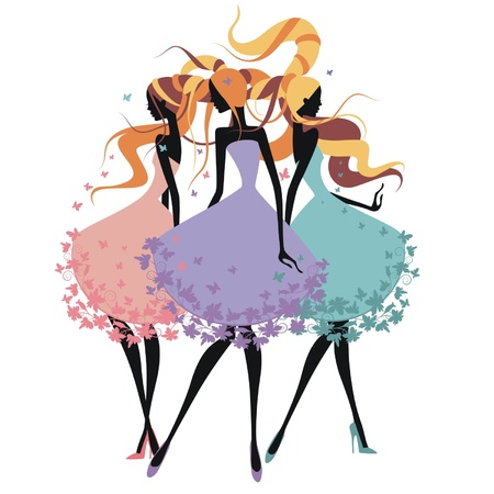 Three silhouette girls with tangled hair Illustration