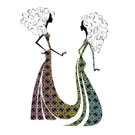 Silhouette of two beautiful girls Stock Vector - 16439286