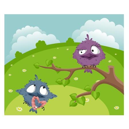 gusano caricatura: Dos pájaros divertidos en el prado