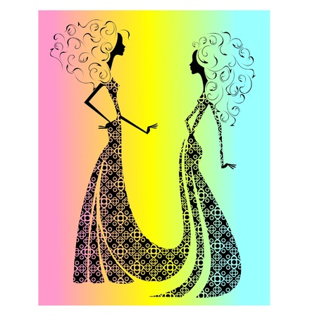 Silhouette of two beautiful girls2 Stock Vector - 16439287