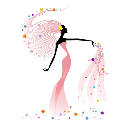Silhouette of woman with flowers Stock Vector - 16439289