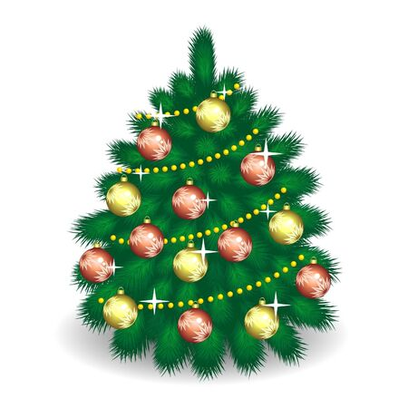 firtree: fir-tree  with decorations Illustration