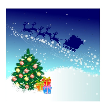 firtree: Santa Claus and fir-tree with decorations2
