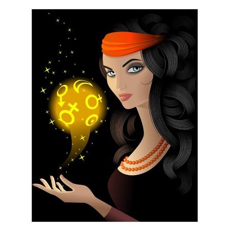 zigeunerin: Wahrsagerin mit einer gold magic ball Illustration