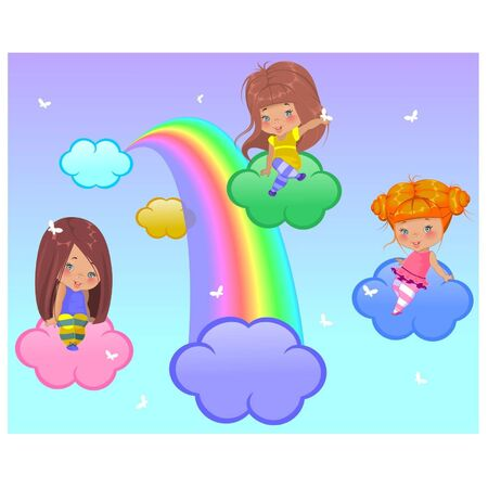 Three little girls flying in the clouds Stock Vector - 17430041