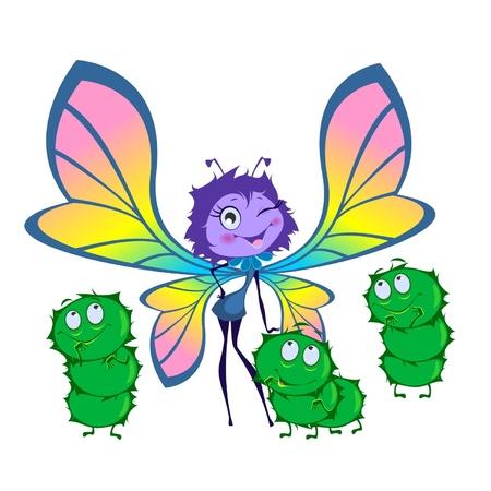 bruchi: Farfalla e tre bruchi isolato su uno sfondo bianco