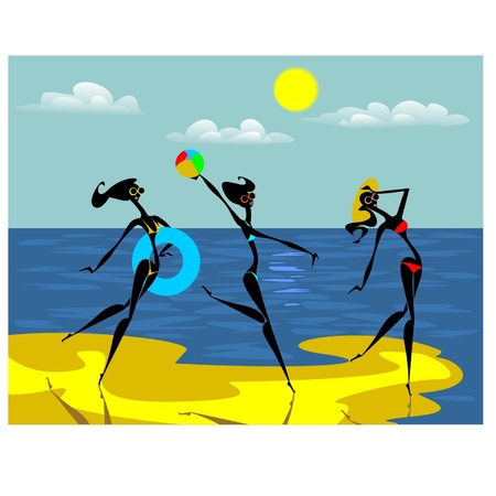 beach ball girl: Three crazy abstract girl on the beach