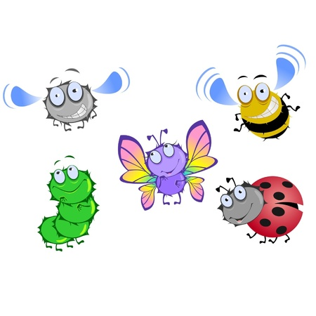 Five funny beetles isolated on a white background Иллюстрация