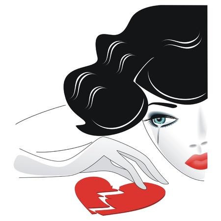 poškozené: Retro dívka pláče nad zlomeným srdcem Ilustrace