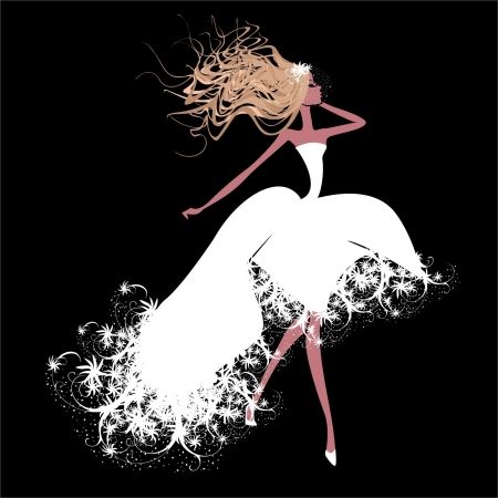 A girl in a white dress Vector