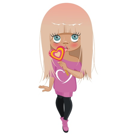 sweater girl: A girl with pink hair and candy in the form of heart Illustration