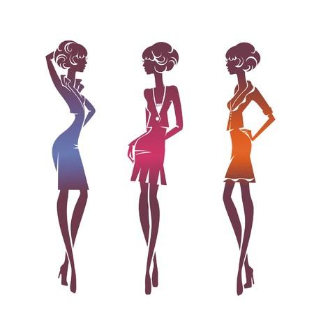 Tres muchachas elegantes siluetas aislados en un fondo blanco