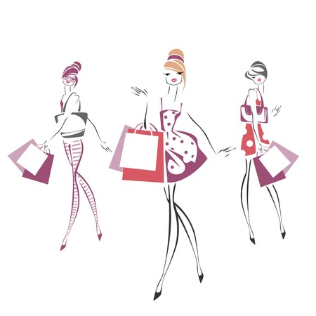 girl sketch: Sketch of fashionable women with  bags